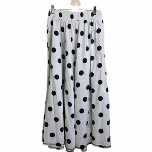 MJ CARROL WHITE BLUE DOT FULL SKIRT